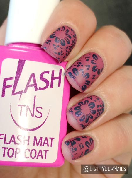 Pink and blue nail art featuring BP106 stamping plate