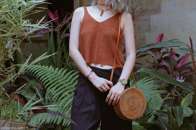 Japanese Fashon Blogger,MizuhoK,20180928OOTD, Brown knited cami=Rakuten, Black wide leg pants=Newchic, Sandals=BIRKENSTOCK, round bag=Bali handy, watch: NIXON