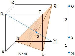 Jarak titik M ke bidang LNQ dalam kubus KLMN.OPQR
