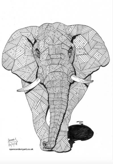 An original animal wild life art drawing. A stylised illustration of a Elephant, hand-drawn by British artist Spencer J. Derry in 2018. Artwork is Not Framed.
