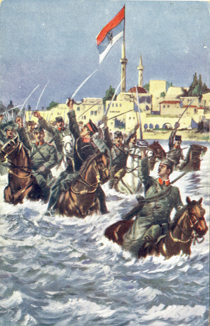 Charge of the Serbian army in Bitola. Animated postcard issued in Prague, Czech Republic in which in a romantic enthusiasm is shown the victory of the Serbian over the Turkish army during the First Balkan War