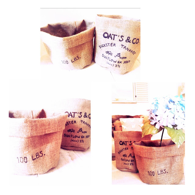 fabric baskets with burlap