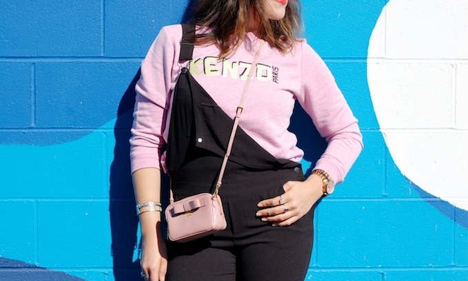 Le Chateau overalls, Kenzo sweater and Prada mini crossbody