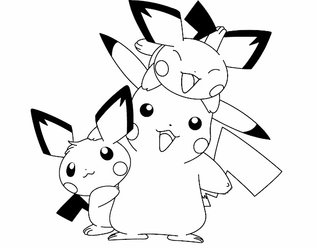 Pokemon Pikachu And Two Friends Are Cute Coloring Page