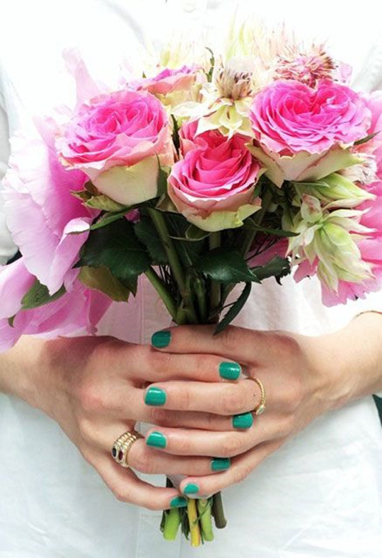 Bouquet Inspired Manicure designs for bridal 2016