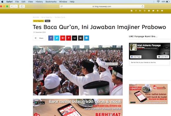 Viral Tulisan Imajiner Respons Prabowo soal Tes Baca Quran