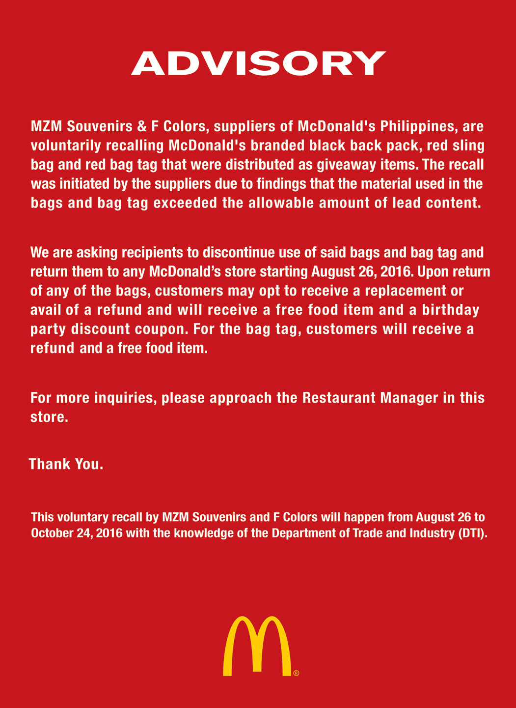 EcoWaste Coalition, a non-profit watch group tracking toxic chemicals in  products and wastes, lauded fast food giant McDonald's Philippines for  voluntarily ...