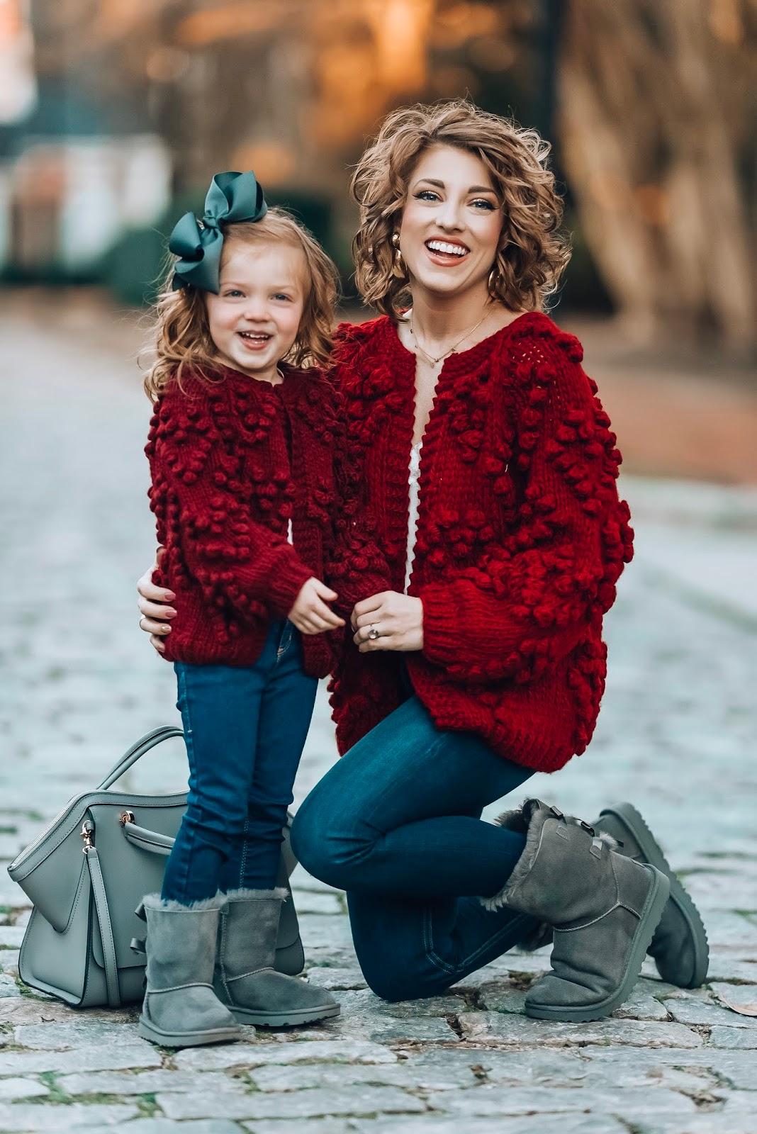 Mommy & Me Burgundy Pom Pom Heart Cardigans - Something Delightful Blog