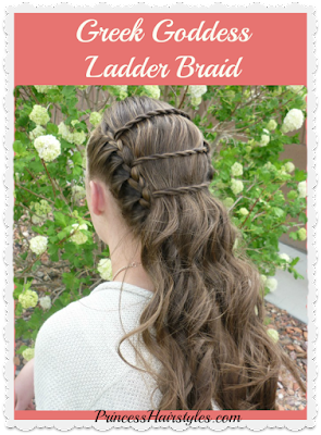 Greek goddess ladder braid hair tutorial. Wedding and Prom hairstyles.