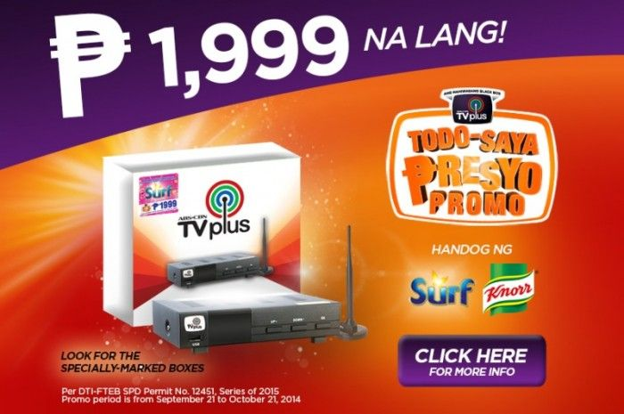 ABS-CBN TVplus now only P1,999!