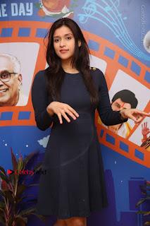 Actress Mannara Chopra Stills in Blue Short Dress at Rogue Song Launch at Radio City 91.1 FM  0020.jpg
