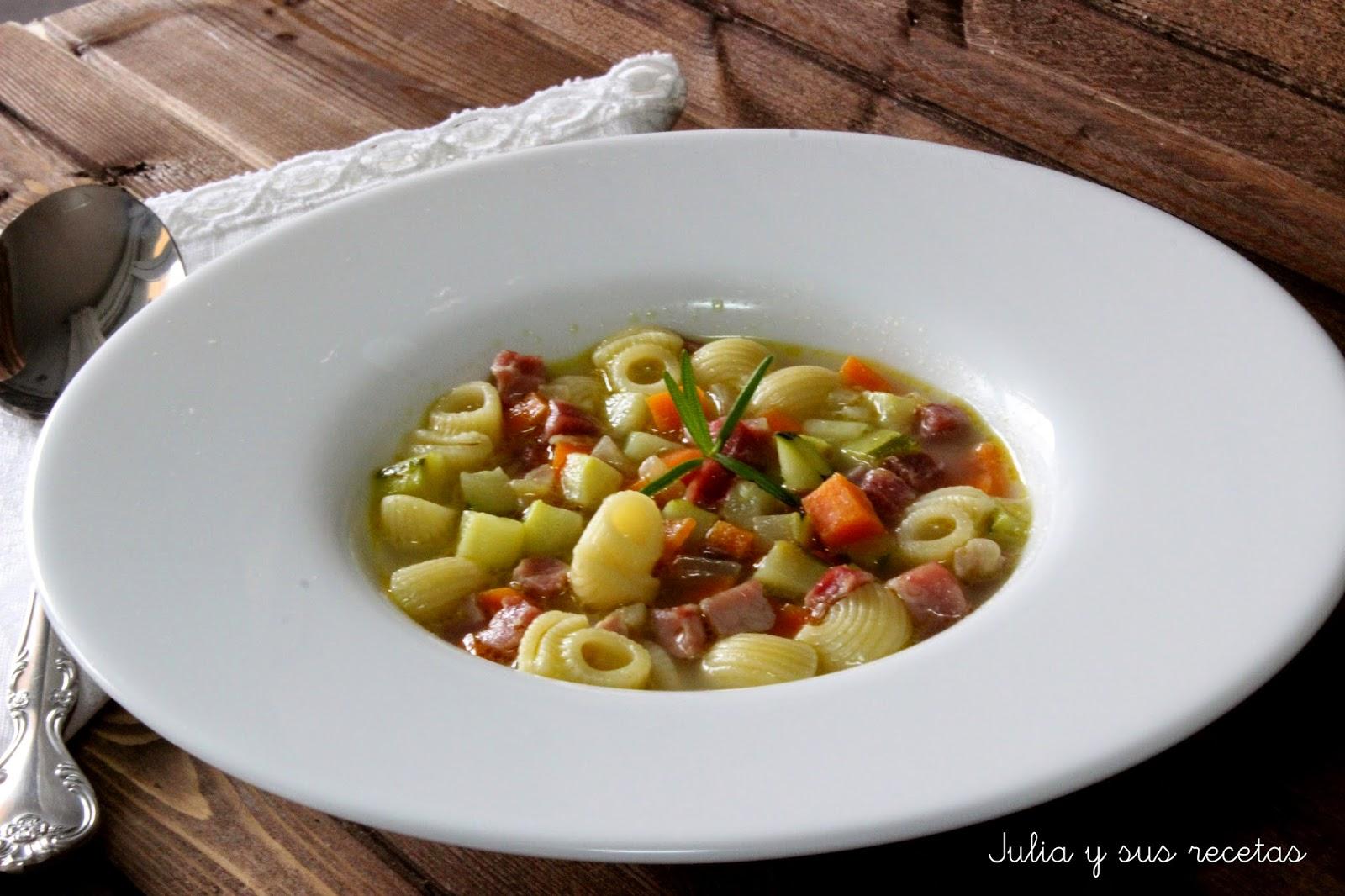 Sopa de caracolas con jamón. Julia y sus recetas