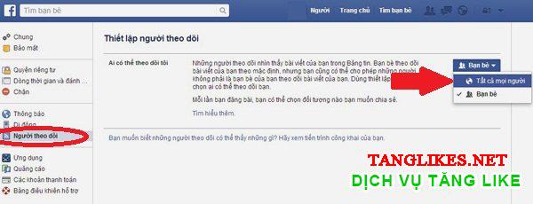 Bật đăng ký theo dõi facebook