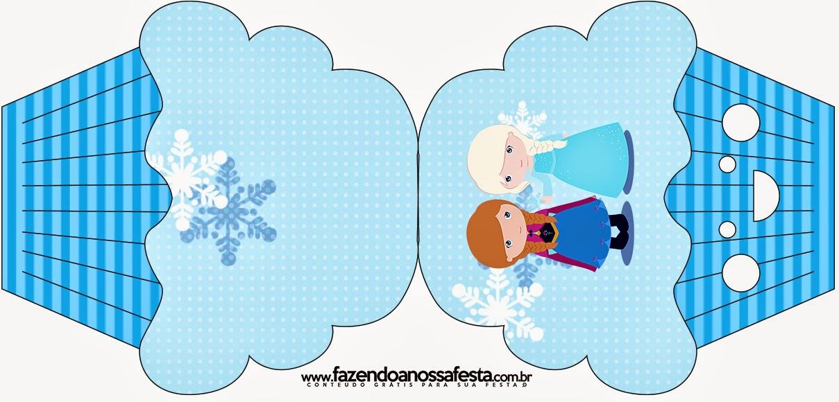 Tarjeta con forma de Cupcake de Frozen Niñas para Navidad Azul.