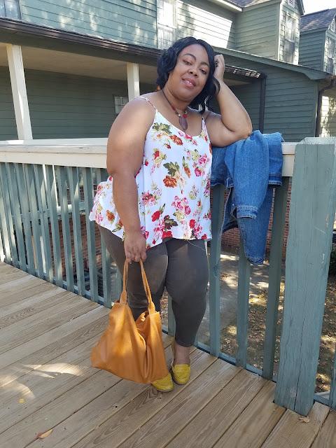 floral blouse, olive skinnies, camel handbag, mustard loafers