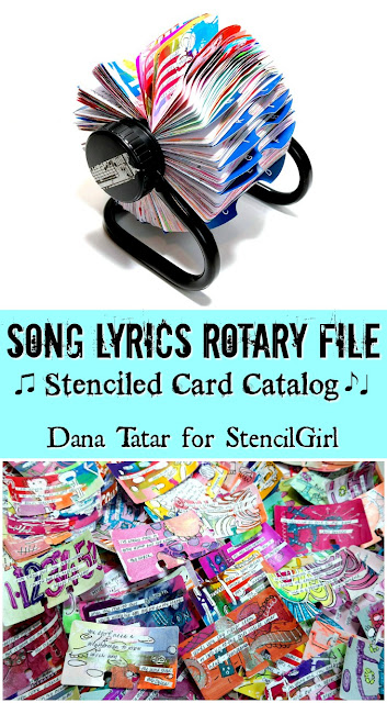 Song Lyrics Rotary File Tutorial by Dana Tatar for StencilGirl