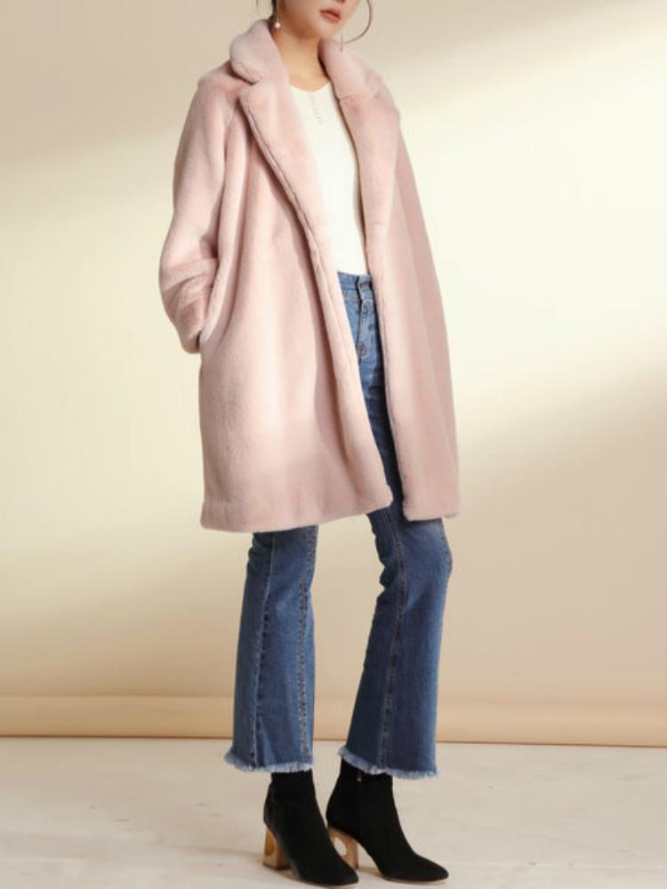 Furry pink coat