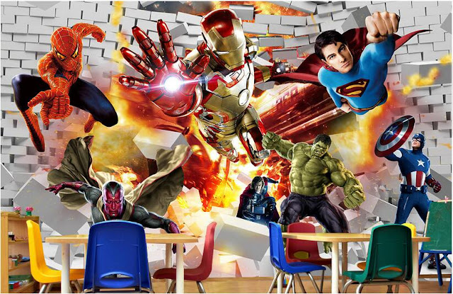 Avengers wall mural childrens room 3D marvel comics Photo Wallpaper Kids Boys super hero spiderman hulk superman