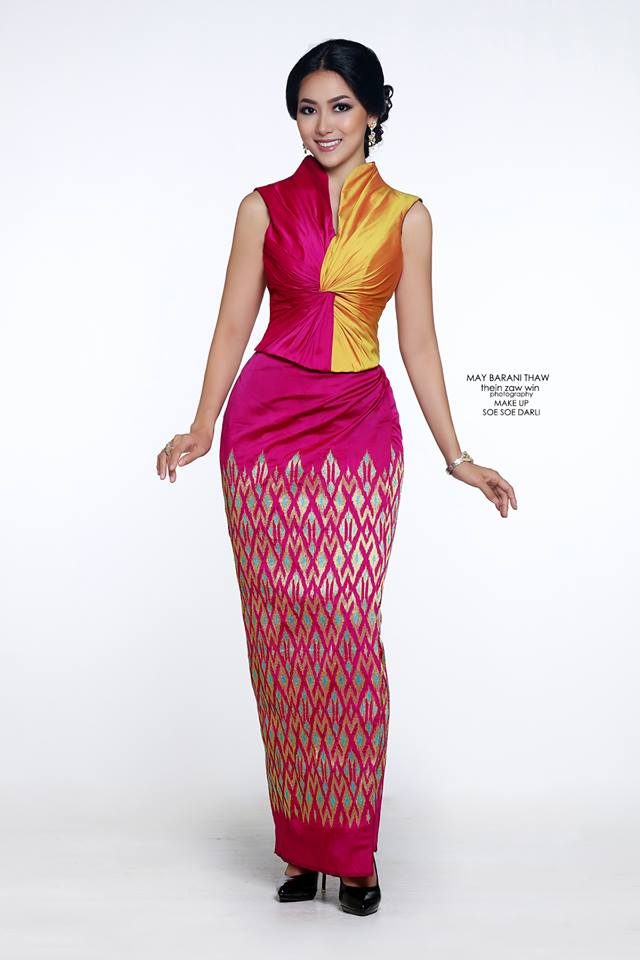 Miss Universe Myanmar 2016 May Barani Thaw In Myanmar Dress Photoshoot