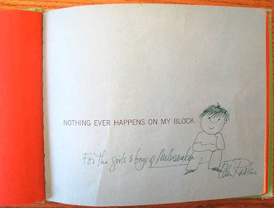 Title page of Nothing Ever Happens on My Block with artist signature and art