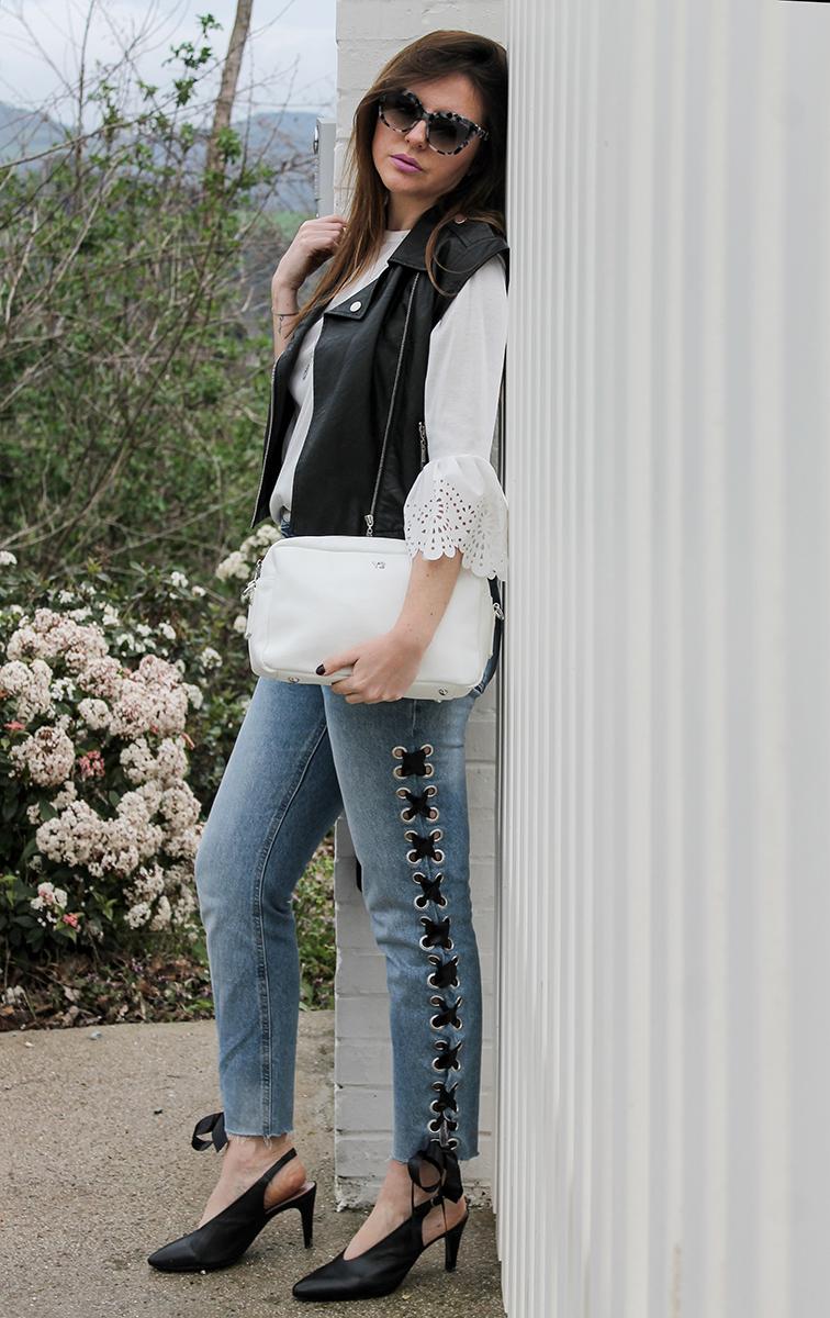 jeans con lacci bershka