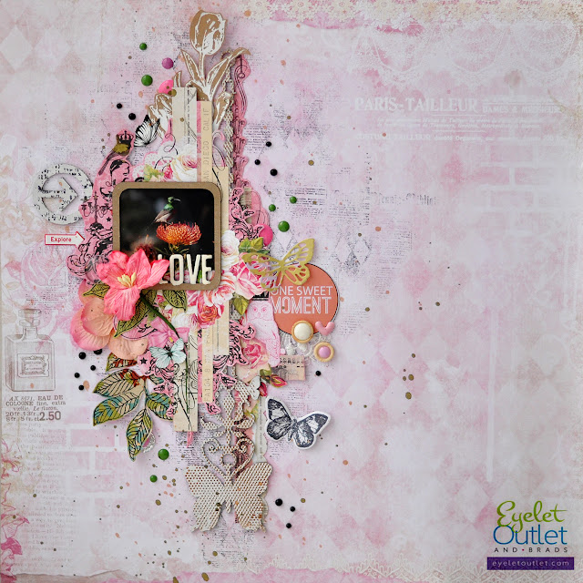 one sweet moment layout | Eyelet Outlet DT  @akonitt #layout #by_marina_gridasova #eyeletoutlet #enamels #enameldots #bluefern #chipboard #scrapbooking #flowers #stamp #lesiazgharda #butterfly #diecut