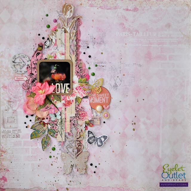 one sweet moment layout | Eyelet Outlet DT  @akonitt #layout #by_marina_gridasova #eyeletoutlet #enamels #enameldots #bluefern #chipboard #scrapbooking #flowers #stamp #lesiazgharda #butterfly #diecut