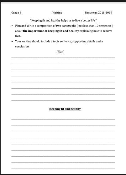 موضوعات التعبير على الطريقة الجديدة للإختبار للصف الثامن