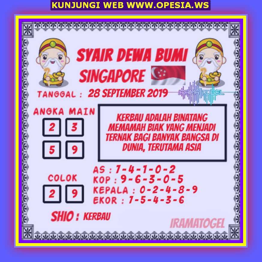 Syair sgp Sabtu 28 September 2019 68
