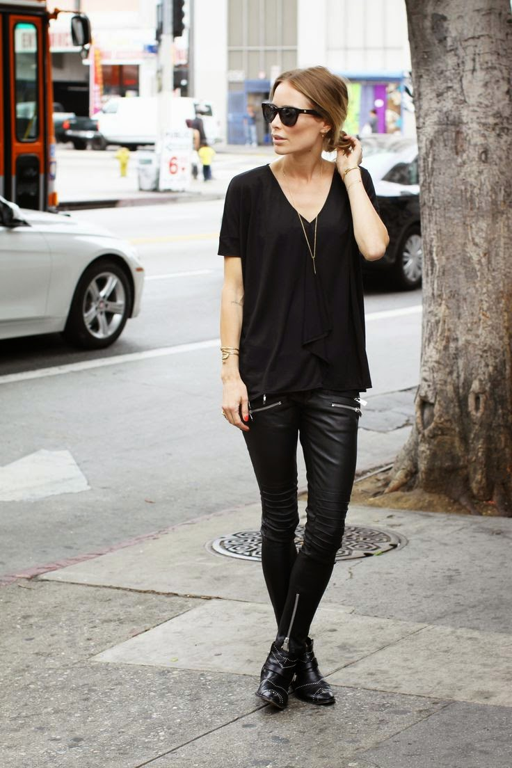 anine bing chic all black style leather pants