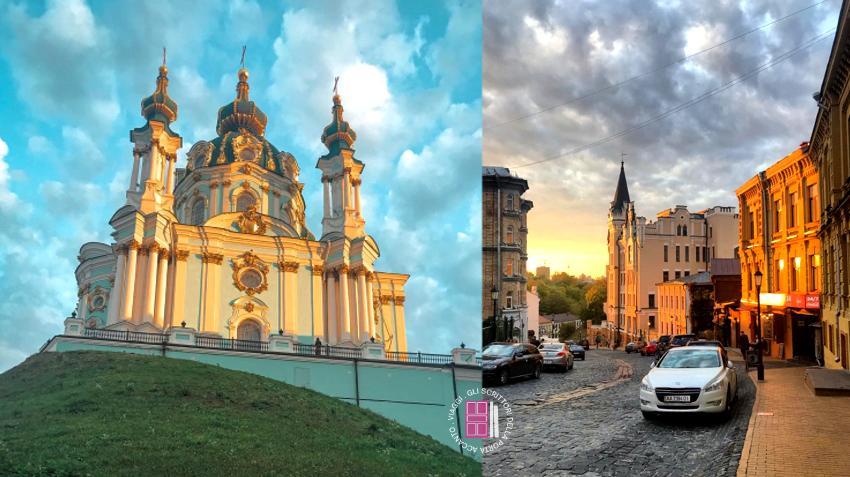 La chiesa turchese e oro e la discesa di Sant'Andrea