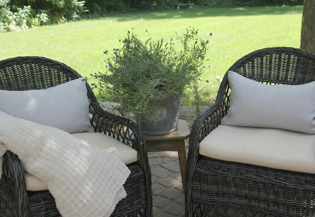 Gorgeous wicker Davies (Decor Market) chairs on patio - Hello Lovely Studio