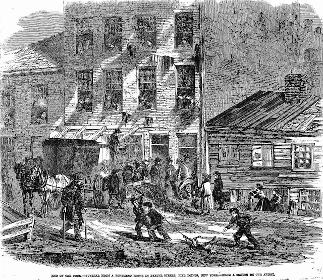 "An 1865 illustration ""End of the poor - funeral from a tenement house in Baxter  Street, Five Points, New York - from a sketch by our artist"""