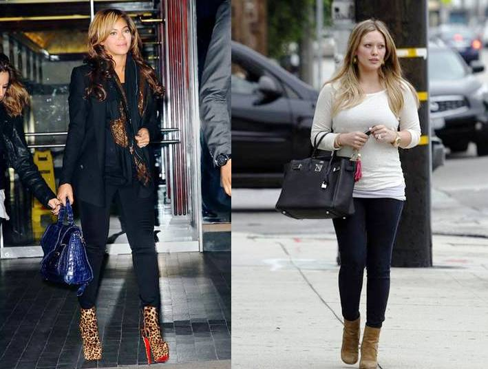 686b0454b21 Casual street fashion showdown between Beyonce after meetings in New York  on November 10 v. Hilary Duff earlier that day shopping in Beverly Hills.