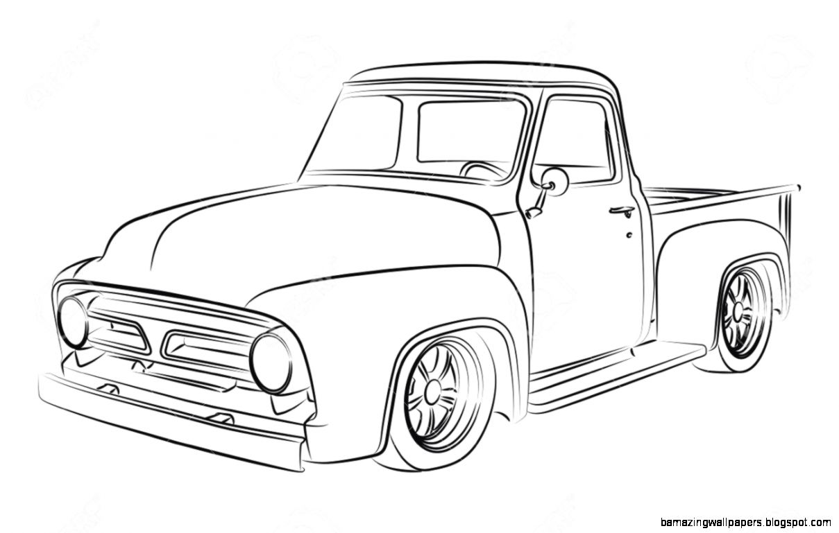 classic truck drawings amazing wallpapers. Black Bedroom Furniture Sets. Home Design Ideas