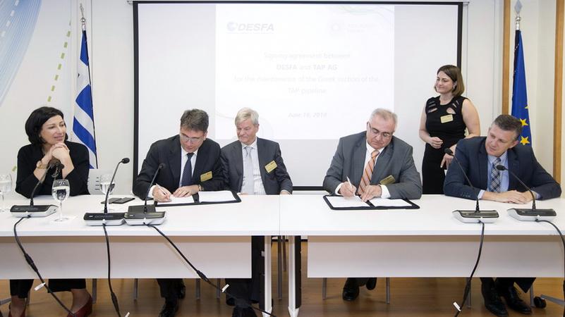 Συμφωνία μεταξύ TAP και ΔΕΣΦΑ για τη συντήρηση του ελληνικού τμήματος του αγωγού TAP