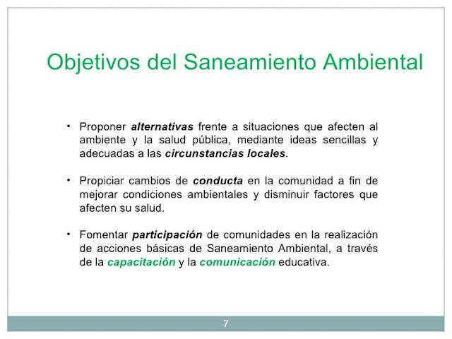 objetivos del saneamineto ambiental