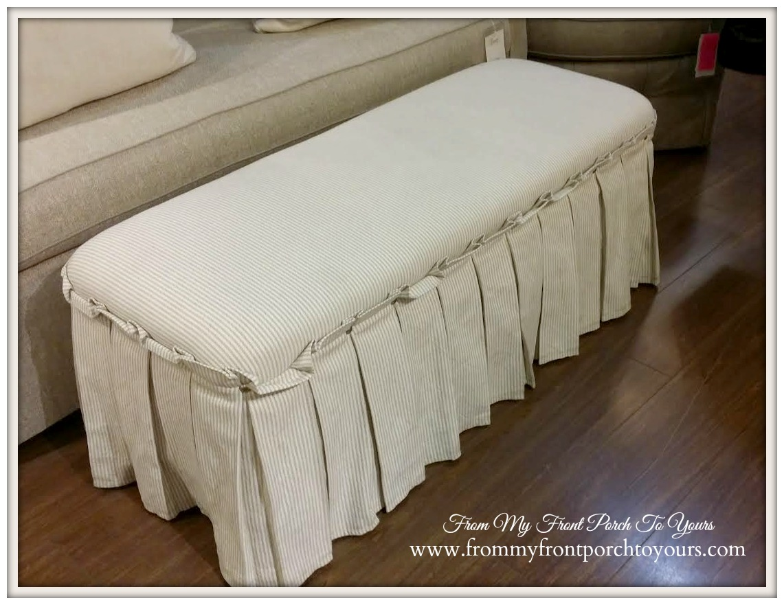 Laurie's Home Furnishings-Ticking Stripe Skirted Bench- From My Front Porch To Yours