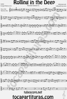Rolling In The Deep Partitura de Saxofón Alto y Saxofón Barítono Sheet Music for Alto Saxophone and Baritone Sax