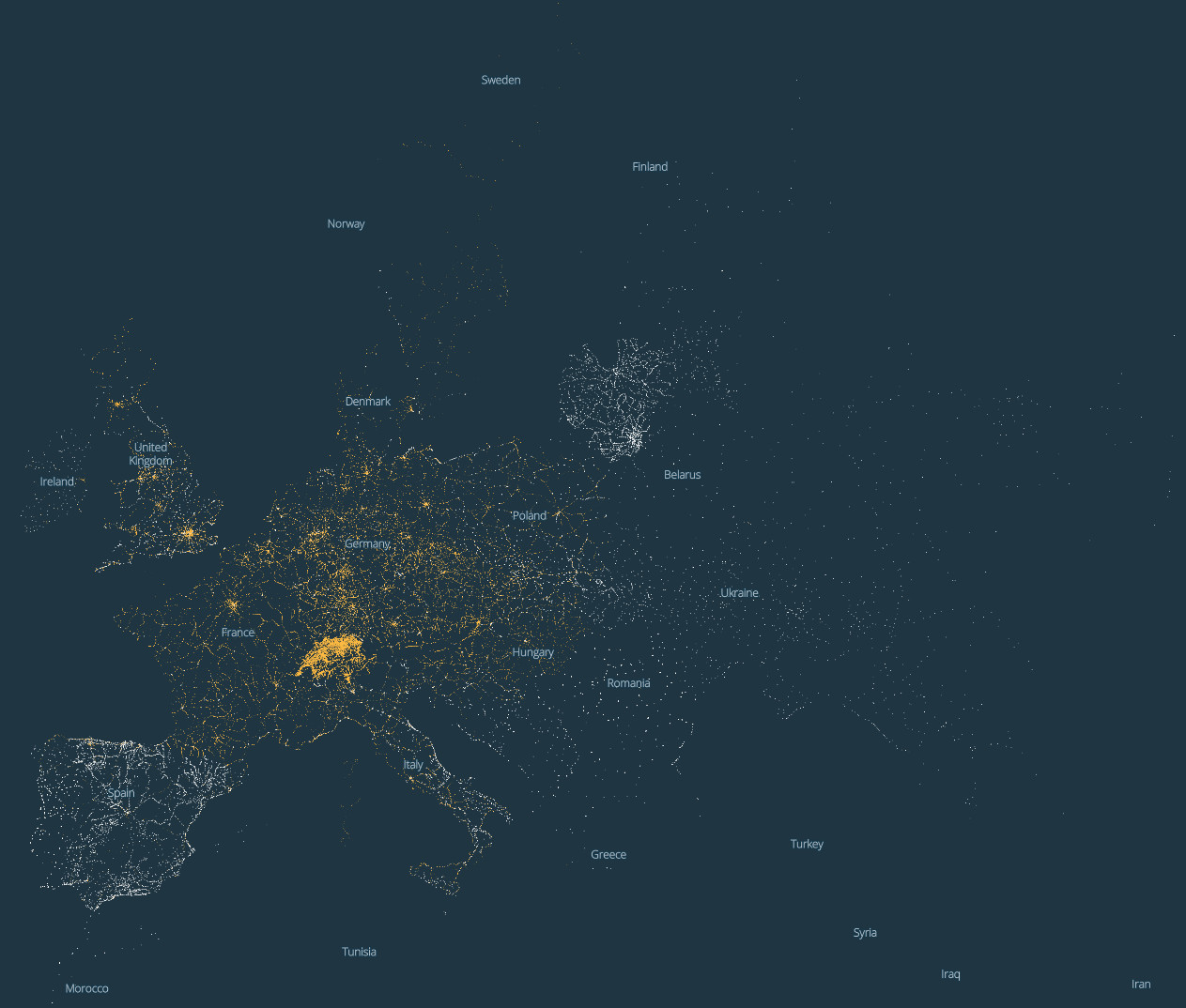Dark Map of European Infrastructure