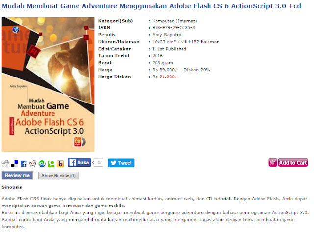 Buku membuat game adventure/petualangan dengan adobe flash cs 6, actionscript 3.0