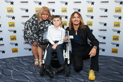 Furr-ever Friends Award (Salem) Jared Bignold and his mother Verity, Justin Hawkins, Cats Protection.
