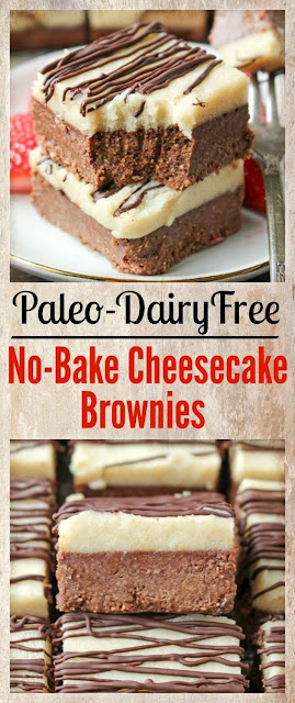 Paleo No-Bake Cheesecake Brownies