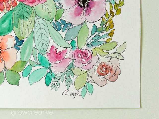 watercolor flower illustration: grow creative blog