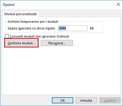 Outlook, Moduli personalizzati