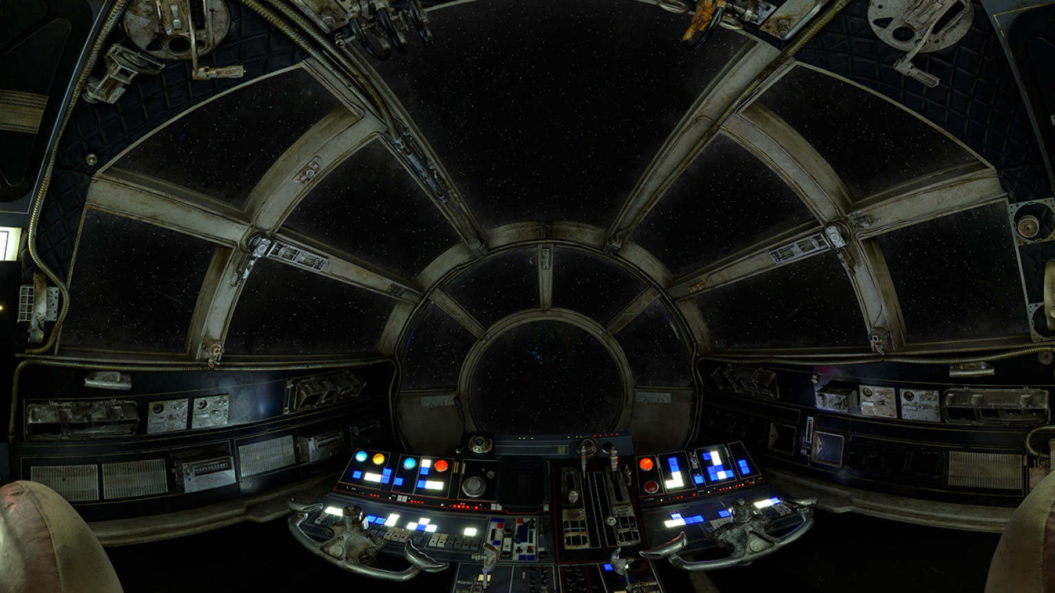 Step inside the millenium falcon cockpit with 39 star wars for Interieur vaisseau star wars