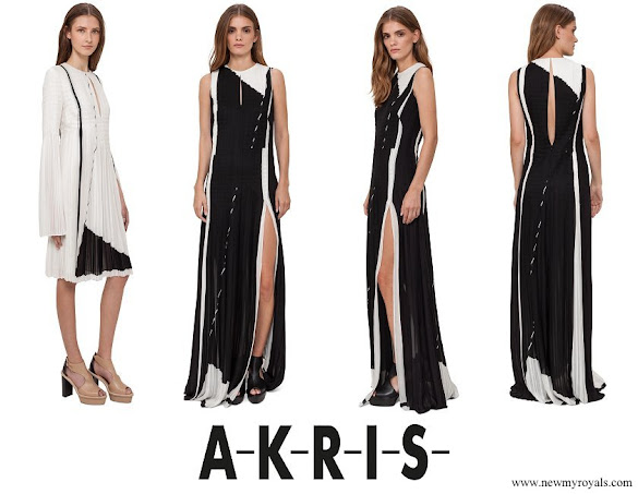 Princess Charlene wore Akris Equation-Print Pleated Keyhole Sleeveless Gown