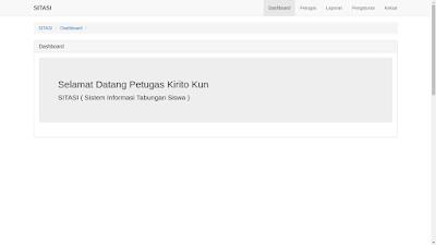 Halaman Dashboard Admin dari Sistem Inforasi Tabungan Siswa