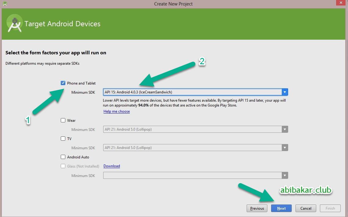 Pilih Setting Minimum Android SDK Aplikasi