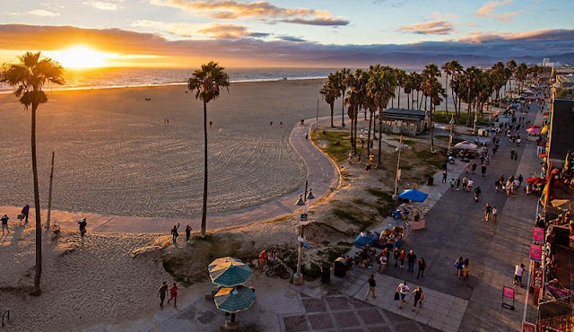 Praia de Venice Beach na Califórnia